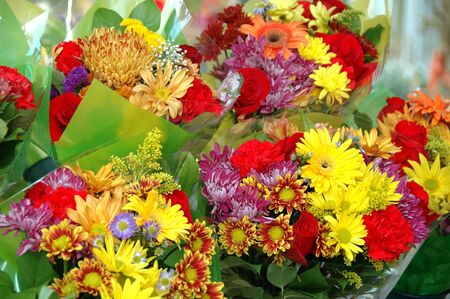 Several bouquets of flowers at a florist photo