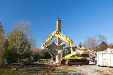 A house being demolished to make way for a new home