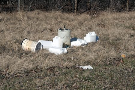 illegally: Trash dumped along side a road illegally
