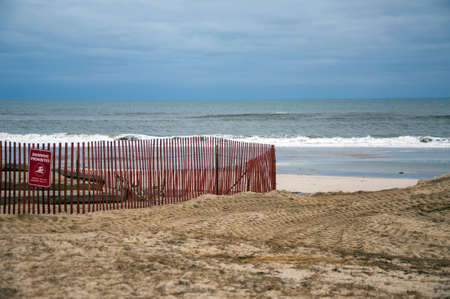 hurricane sandy: Storm damaged beach on Long Island caused by Hurricane Sandy Stock Photo