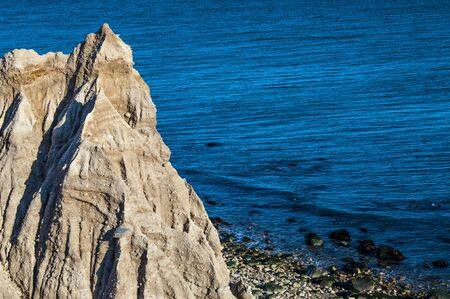 bluff: Erosion of a bluff overlooking the shoreline