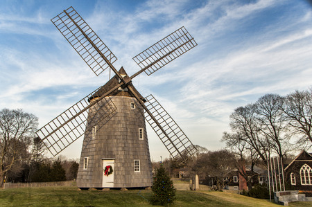 The Old Hook Windmill in East Hampton decorated for the holidays