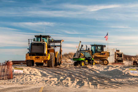 A sand replenishment project site on the beach Editorial