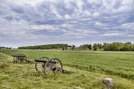 Civil War era cannons in the battlefields of Gettysburg, PA