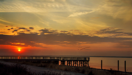 great bay: Sun setting over the Great South Bay Stock Photo