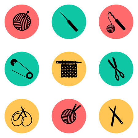 contains: Set contains nine icons describing knitting process