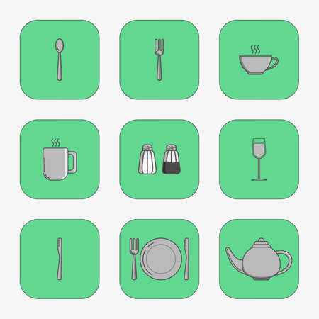 banquet table: Set of simple icons for utensiles spoon, knife, fork, plate, cup, mug, teapot, salt cellar, pepper pot, wine glass in squares on green background. Illustration
