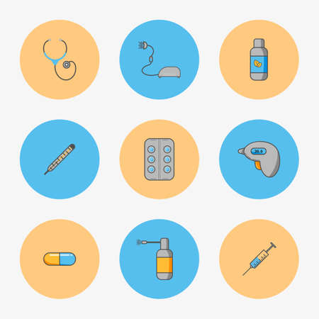 Doctors set of simple icons for treating diseases such as flu and chill. Contains thermometers, inhaler, mixture, spray, pills, capsule, stethoscope, syringe in circles
