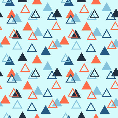 Seamless abstract geometric pattern with triangles filled and empty. Orange, light and dark blue