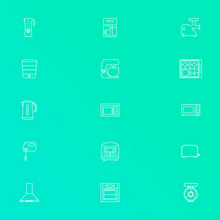 Set of flat white line art icons for kitchen equipment such as kettle, oven, microwave, blender, mixer, steamer, coffee machine, scales, meat grinder Illustration