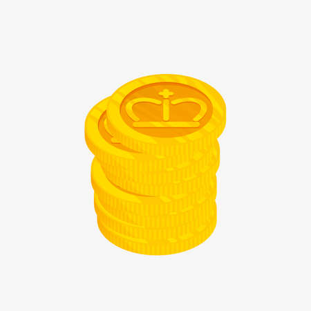metalic design: 3D icon for a stack of gold coins with crown on top. Vector illustration. Winner award. Best choice badge.