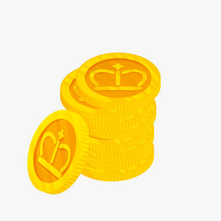 metalic design: 3D icon for a stack of gold coins with gold crown on top. Winner award. The best choice badge. Vector illustration. Illustration