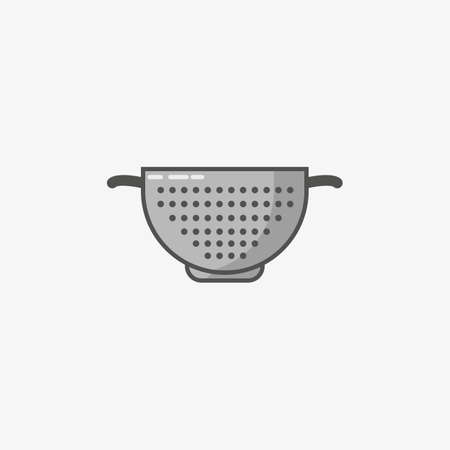 drainer: An icon for colander in flat style on grey background. Vector illustration. Illustration