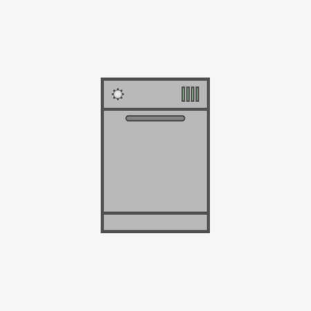 dishwasher: Simple vector icon of dishwasher in flat style.