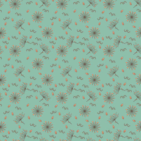 Seamless pattern with dandelions in light orange and brown color on gentle emerald background. Floral seamless background for dress, manufacturing, wallpapers, prints, gift wrap and scrapbook.