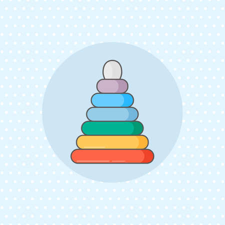 Simple vector icon for ring stacker in rainbow color on blue background. Flat style. Illustration