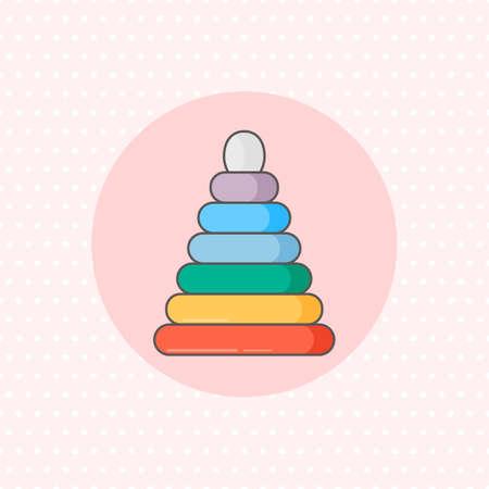 Icône simple vecteur pour empileur de bague en couleur arc en ciel sur fond rose. Style plat. Vecteurs