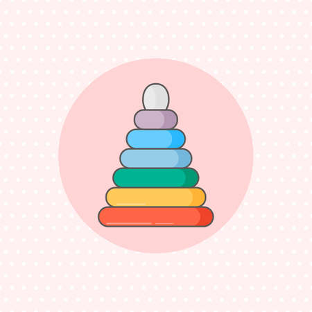 Simple vector icon for ring stacker in rainbow color on pink background. Flat style.
