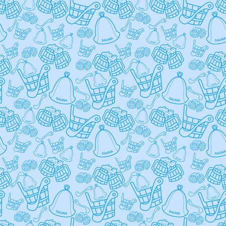 Seamless pattern with sauna wooden scoop, bucket and hat on dark blue background. Vector illustration. Illustration