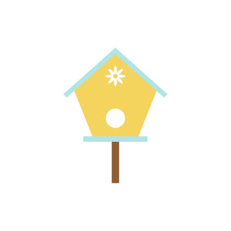nesting: Simple vector icon of birdhouse with daisy.