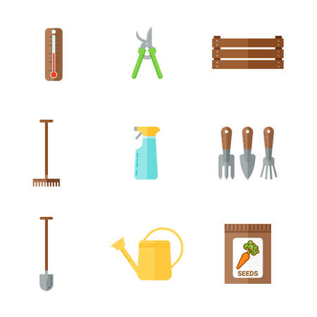 secateurs: Set of color flat icons of garden tools. Watering can, thermometer, package with seeds, prunen, shovel, rakes.