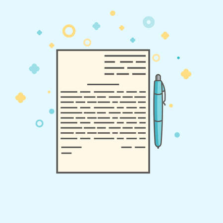 signing papers: Business icon, management. Simple vector icon of a contract and a pen. Flat style.