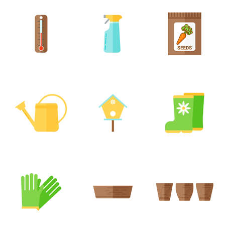 Garden icons set. Thermometer, seeds, watering can, gum boots and gloves, flower pots. Flat vector illustration.