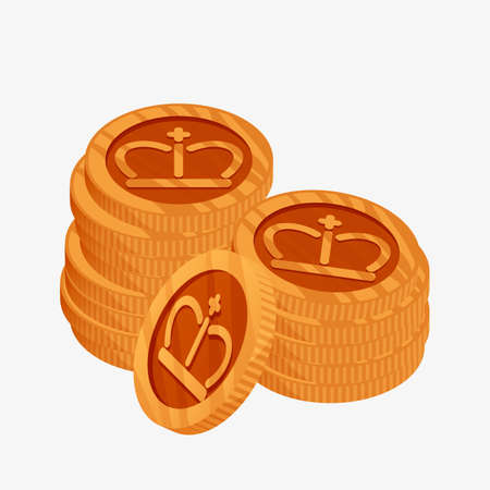 metalic: 3D vector icon for a two stacks of bronze coins with gold crown on top. The third place award.