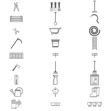 pulverizer: Gardening work tools flat icons set. Equipment for working in garden, gloves, secateurs, seeds, shovel, watering can. Flat vector illustration. Set of icons