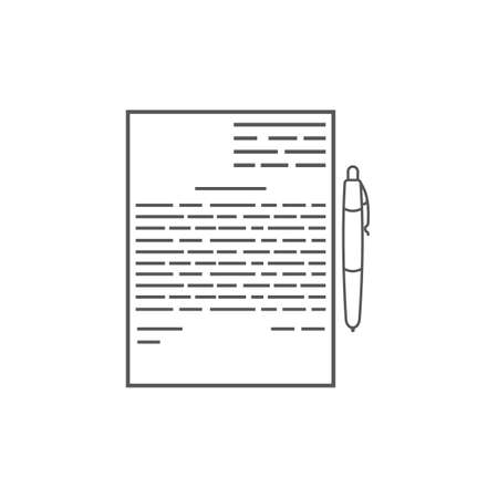 signing papers: Business icon, management. Simple vector icon of a contract and a pen. Line art style.
