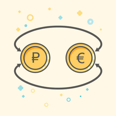 Simple Business and Finance Vector Flat Icon. Currency exchange between euro and rubles. Flat style icon.
