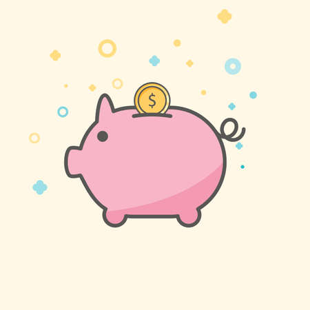 investment concept: Simple Business and Finance Vector Flat Icon. Classic pink piggy as coin keeper. Flat style icon.