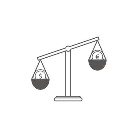 Simple Business and Finance Vector Flat Icon. Classic scales of two currencies euro and ruble. Line art style icon.
