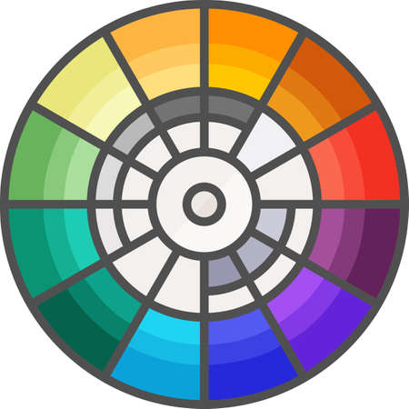 Simple art and hobby Vector Flat Icon. Color wheel for picking colors. Flat style icon. 48x48 Pixel Perfect.
