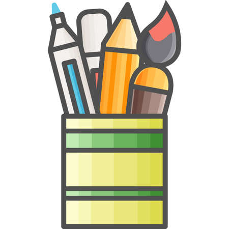 pensil: Simple art and hobby Vector Flat Icon. Pot with markers, pencils and brushes for drawing and painting. Flat style icon. 48x48 Pixel Perfect.