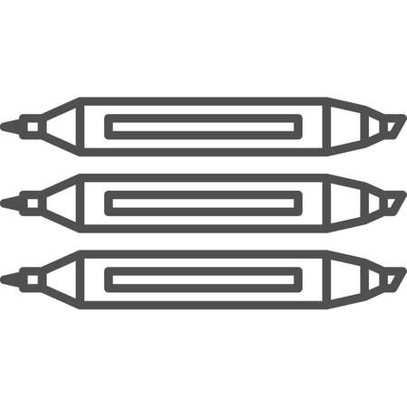 fineliner: Simple art and hobby Vector line art Icon. Set of three different markers. Line art style icon. 48x48 Pixel Perfect.