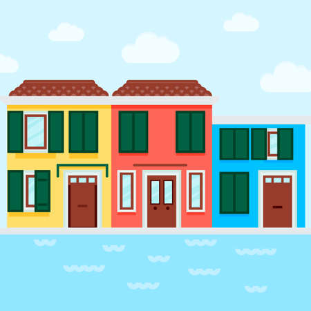 Vector Icon of an italian houses near water in a flat style. Pixel perfect. Travel and tourism, visit Italy