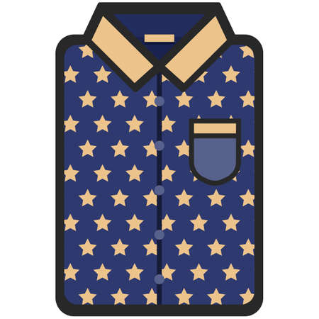 sleeve: Vector Icon of a modern dark blue shirt with yellow stars for men or woman in a flat style. Pixel perfect. Bussiness and office look. For shops and stores