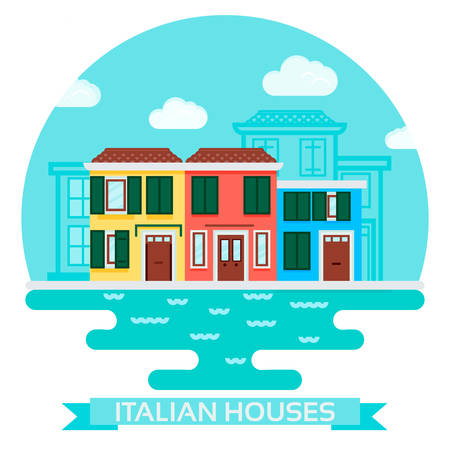 venice: Vector Illustration of an italian house near water in a flat style. Travel and tourism, visit Italy