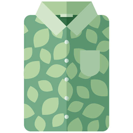 Vector Icon of a green modern shirt with leaves for men or women in a flat style without lines. Pixel perfect. Bussiness and office look. For shops and stores 일러스트