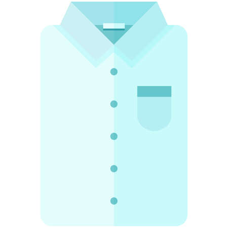 sleeve: Vector Icon of a classic blue shirt for men or woman in a flat style without lines. Pixel perfect. Bussiness and office look. For shops and stores