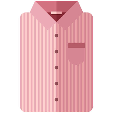 sleeve: Vector Icon of a modern pink shirt with dark stripes for men or woman in a flat style without lines. Pixel perfect. Bussiness and office look. For shops and stores