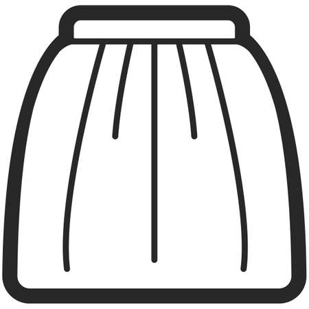 Vector Icon of a skirt for women in line art style. Pixel perfect. Business and office look. For shops and stores