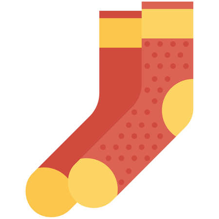Vector Icon of a red and yellow socks for men or women in a flat style without outline. Pixel perfect. Business and office look. For shops and stores