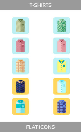 Simple Set of Clothes and shopping Vector flat Icons without outline. Contains such Icons as t-shirt of different patterns. Stock Photo