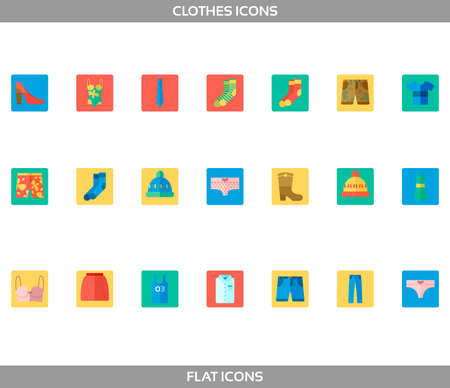 Simple Set of Clothes and shopping Vector flat without outline Icons in squares. Contains such Icons as t-shirt, boots, shoes, pants, shorts, jeans, swimming suit, socks, hat, underwear and more.