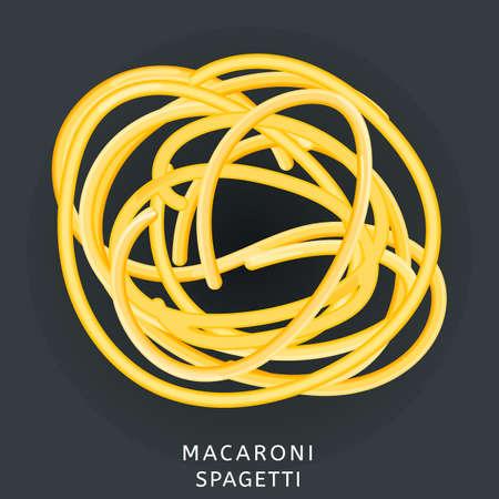 Traditional italian kitchen. Macaroni spaghetti, pasta. Icon isolated on dark background. Vector illustration. Illustration