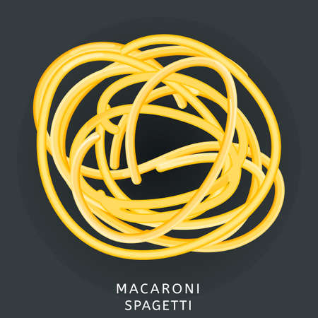 Traditional italian kitchen. Macaroni spaghetti, pasta. Icon isolated on dark background. Vector illustration. Ilustração