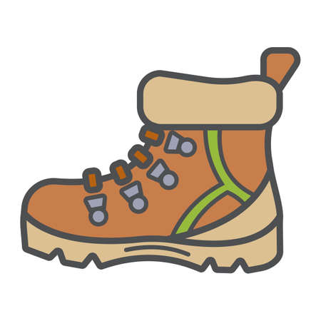 Tourists boots for comfort travel and hiking in modern flat style with outline. Attribute of traveller and tourist. Forest equipment for time and navigation. Vector illustration Иллюстрация