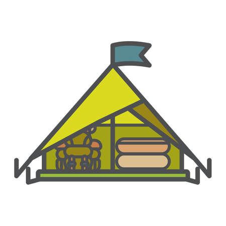 Tent icon, flat vector illustration isolated on white background. Shelter for rest at forest while camping, trekking and hiking.